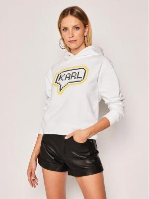 KARL LAGERFELD Bluza Karl Pixel 201W1822 Biały Regular Fit