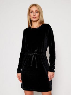 Calvin Klein Sukienka codzienna Ls Velour Tie Waist K20K202284 Czarny Regular Fit