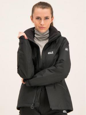 Jack Wolfskin Kurtka hardshell Powder Jacket 1111631-6000 Czarny Regular Fit