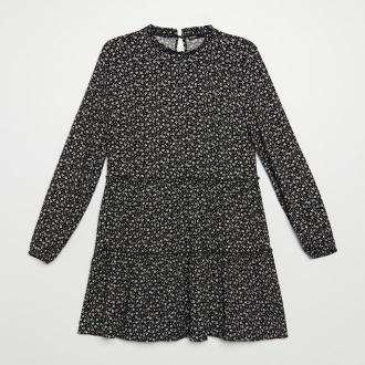Cropp - Sukienka w drobne kwiatki - Czarny