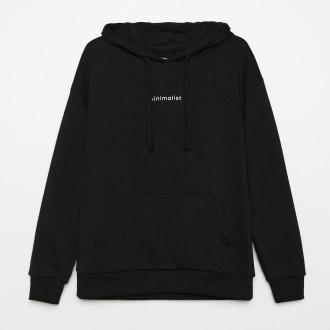 Cropp - Bluza z napisem - Czarny