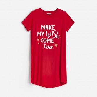 Reserved - Koszula nocna ze świątecznym nadrukiem - Czerwony