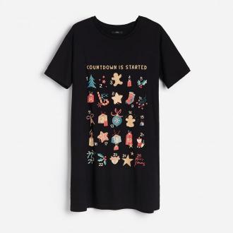 Reserved - Koszula nocna ze świątecznym nadrukiem - Czarny