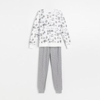 Reserved - Piżama ze spodniami Muminki - Biały