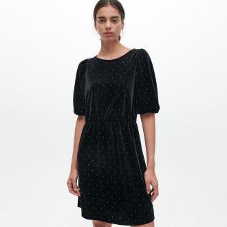Reserved - Welurowa sukienka - Czarny