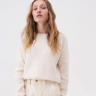 Sinsay - Krótki sweter - Kremowy