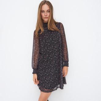 Mohito - Dzianinowa sukienka w kwiaty - Czarny