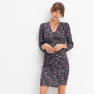 Mohito - Dopasowana sukienka w kwiaty - Czarny