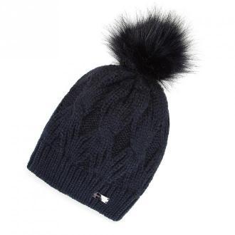 Damska czapka zimowa w warkocze z pomponem