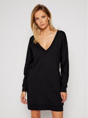 KARL LAGERFELD Sukienka dzianinowa Back V-Neck Logo 206W1364 Czarny Regular Fit