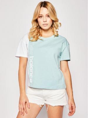 New Balance T-Shirt Blocked Grx T WT01506 Zielony Relaxed Fit