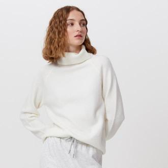 Cropp - Sweter z golfem - Kremowy