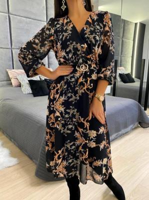 Czarna Sukienka ze Wzorem 5205-18