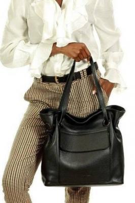 JULIA MARCO MAZZINI Włoska torebka skórzana worek sacco glamour czarna