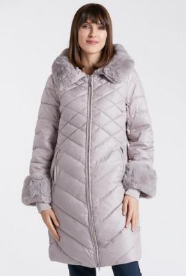 Płaszcz damski z miękkim futerkiem