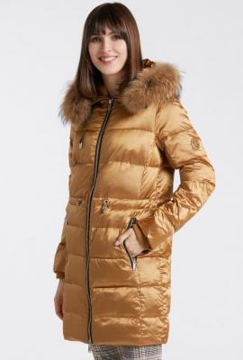Połyskliwy płaszcz damski
