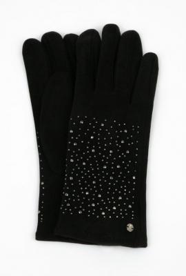 Rękawiczki damskie z połyskującymi kryształkami