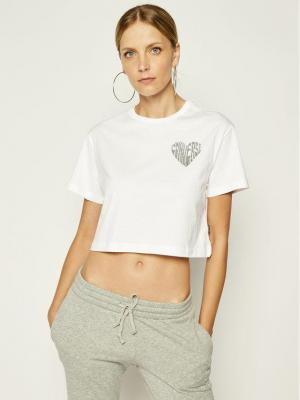 Converse T-Shirt Cropped Heart 10019565 Biały Regular Fit