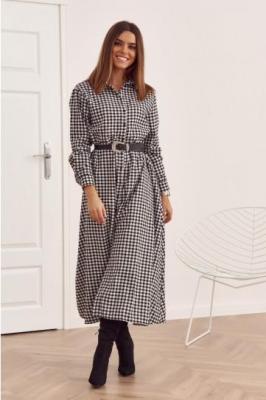 Długa sukienka w kratkę zapinana na guziki czarna 31636