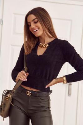 Krótki sweter z głębokim dekoltem czarny 12690