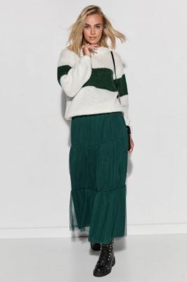 Tiulowa Spódnica Maxi z Poziomymi Przeszyciami - Zielona