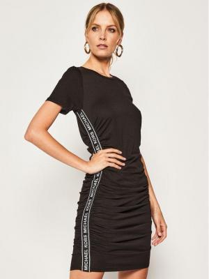 MICHAEL Michael Kors Sukienka codzienna Shirred Logo MS08ZMZ6TF Czarny Slim Fit