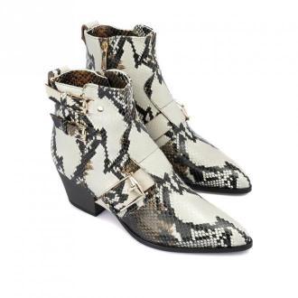 Baldinini Snake printed leather ankle boots Obuwie Biały Dorośli