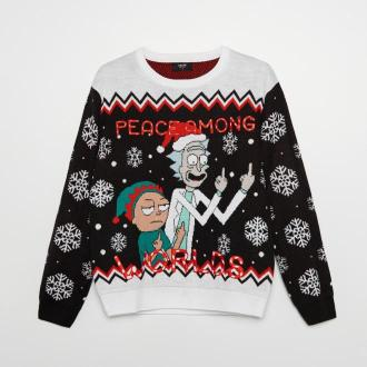 Cropp - Świąteczny sweter Rick and Morty - Czarny