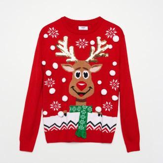 Cropp - Sweter ze świąteczną aplikacją - Czerwony