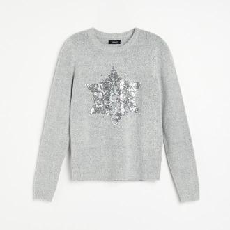 Reserved - Sweter z cekinami - Jasny szary