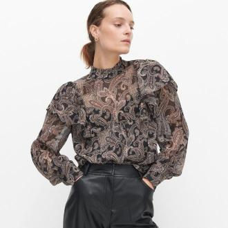 Reserved - Wzorzysta bluzka ze stójką - Czarny