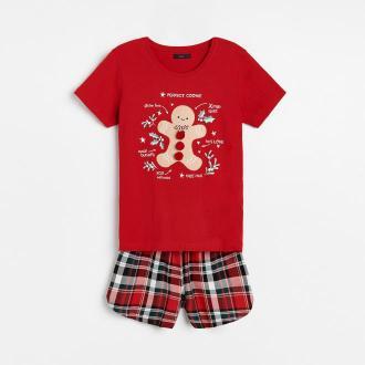 Reserved - Dwuczęściowa piżama ze świąteczną aplikacją - Czerwony