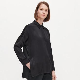 Reserved - Koszula o satynowym połysku - Czarny