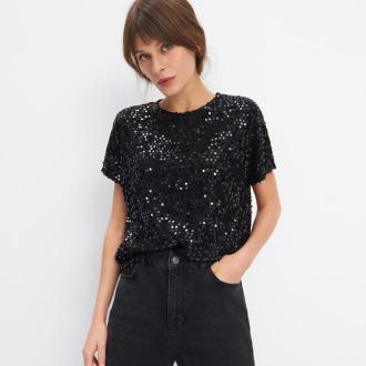 Mohito - Koronkowa bluzka z cekinową aplikacją - Czarny