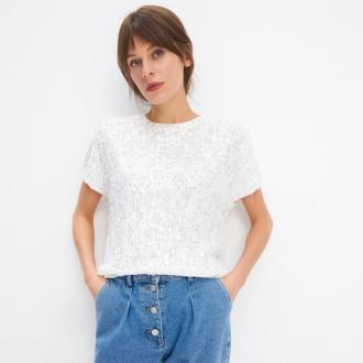 Mohito - Koronkowa bluzka z cekinową aplikacją - Kremowy