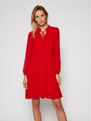 Calvin Klein Sukienka codzienna Chiffon Ls Tie Skater K20K202291 Czerwony Regular Fit