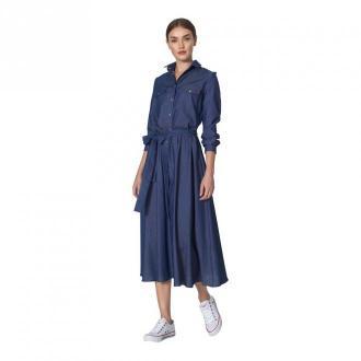 Nife Jeansowa sukienka midi Sukienki Niebieski Dorośli Kobiety