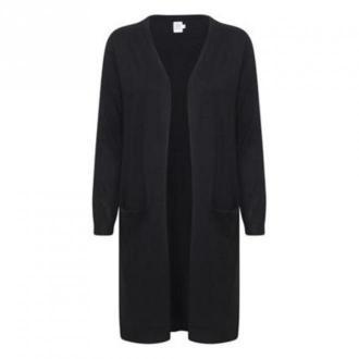 Saint Tropez MilaSZ LS Long Cardigan Swetry i bluzy Czarny Dorośli