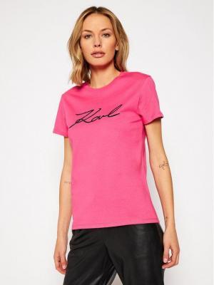 KARL LAGERFELD T-Shirt Logo Rhinestone 206W1707 Różowy Regular Fit