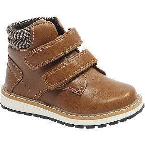 Brązowe buciki chlopięce Bobbi-Shoes zapinane na rzepy