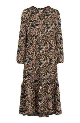 Cream Wzorzysta sukienka zwiskozy Tulina Czarny we wzory