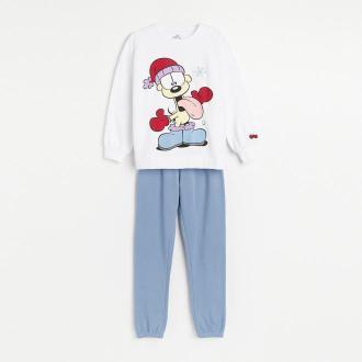 Reserved - Dwuczęściowa piżama ze świątecznym motywem kota Garfielda - Kremowy