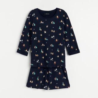 Reserved - Świąteczna piżama z szortami - Granatowy