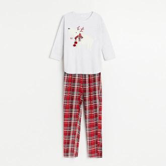 Reserved - Dwuczęściowa piżama ze świątecznym printem - Szary