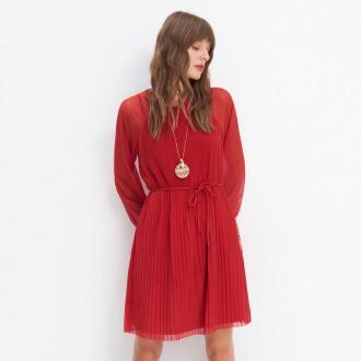 Mohito - Plisowana sukienka z wiązaniem - Czerwony