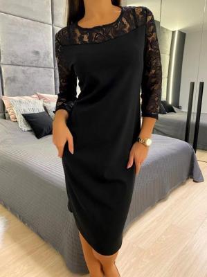Czarna Sukienka z Koronką 4640-76-K