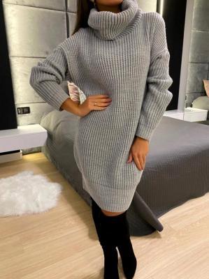 Szary Sweter z Golfem 5218-410-F