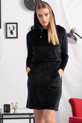 Sukienka welurowa dresowa z kapturem NELKA czarna  PROMOCJA