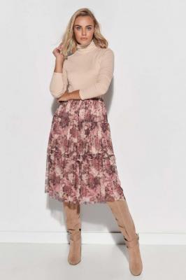 Tiulowa zwiewna Spódnica Midi w Kwiaty - Wzór 8