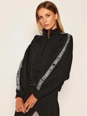 KARL LAGERFELD Bluza Double Jersey Cropped Sweat 205W1808 Czarny Slim Fit